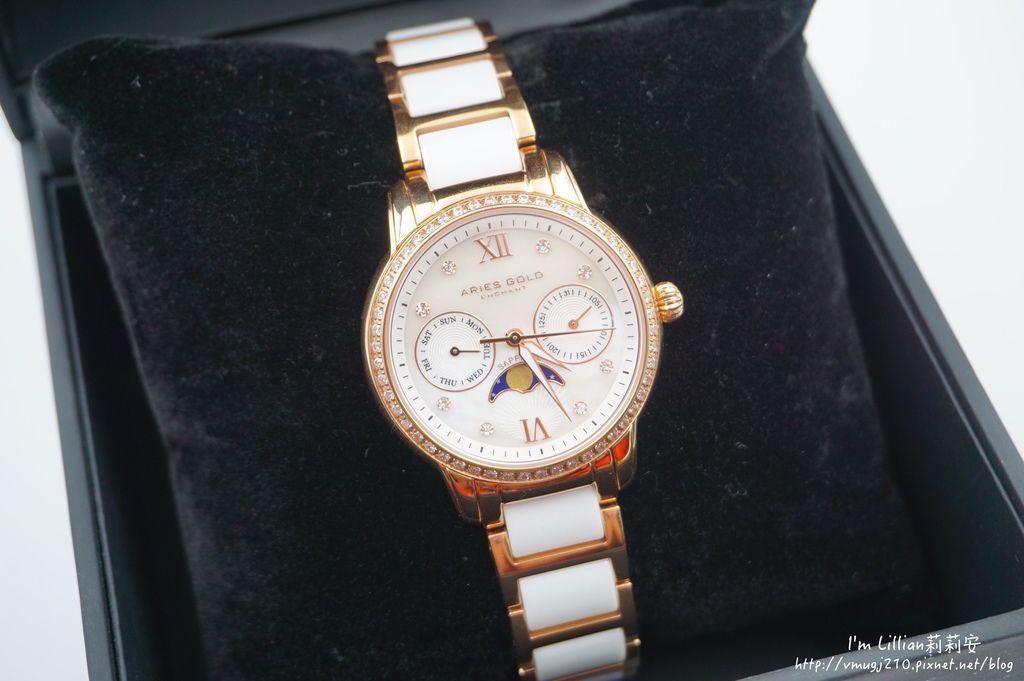 石英手錶推薦  施華洛世奇水鑽45Aries Gold LUNA 58010.JPG