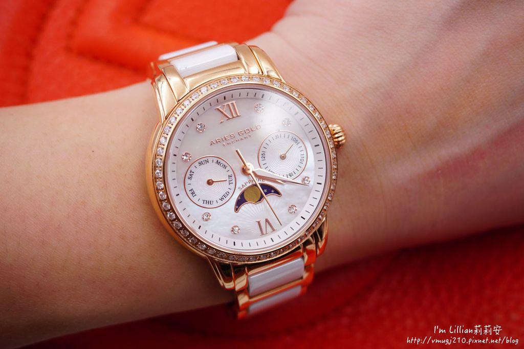 石英手錶推薦  施華洛世奇水鑽22Aries Gold LUNA 58010.JPG