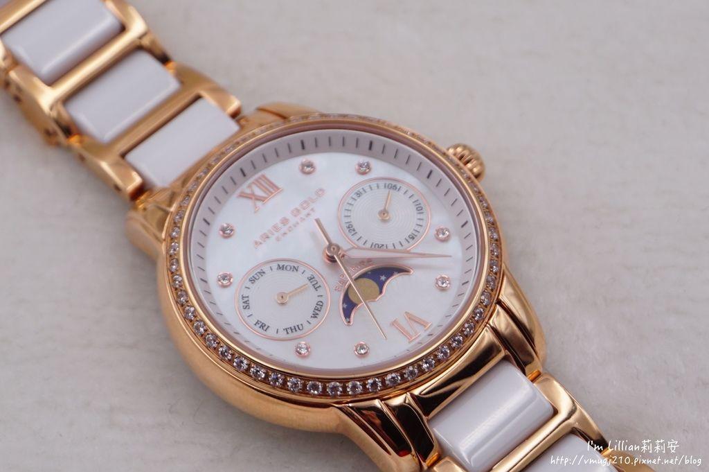 石英手錶推薦  施華洛世奇水鑽33Aries Gold LUNA 58010.JPG