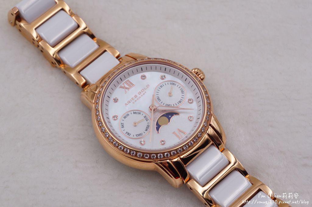 石英手錶推薦  施華洛世奇水鑽35Aries Gold LUNA 58010.JPG