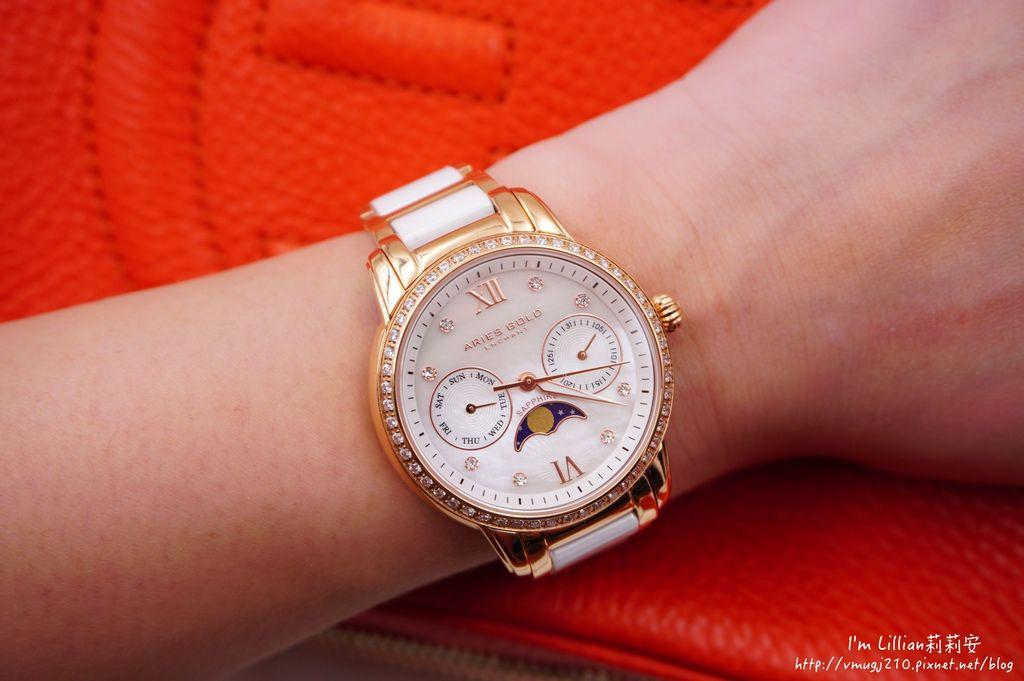 石英手錶推薦  施華洛世奇水鑽27Aries Gold LUNA 58010.JPG