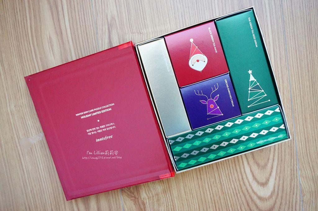 innisfree 聖誕節限量禮盒56火山泥膜 綠茶籽保溼精華.JPG