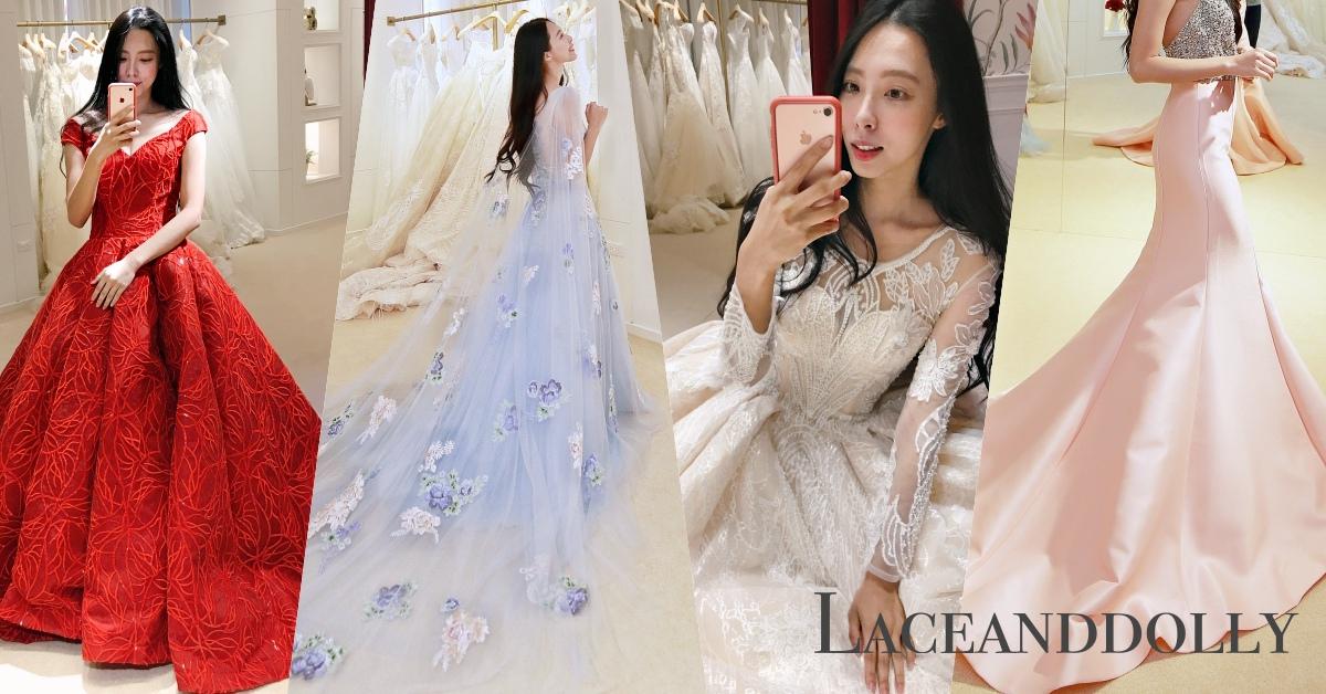 婚紗試穿。高雄蕾絲娃娃『水藍夢境』飄逸婚紗好療癒~~
