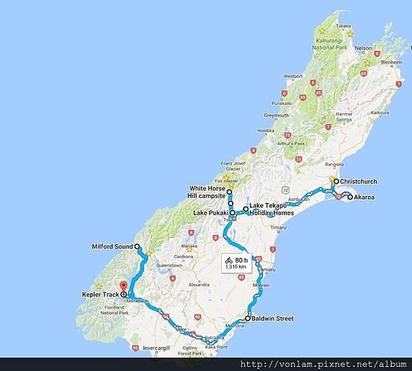 第1至22天的紐西蘭行程