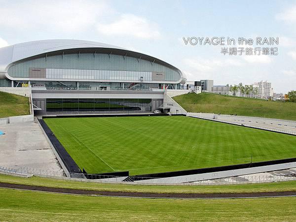 球場後方的足球場草皮