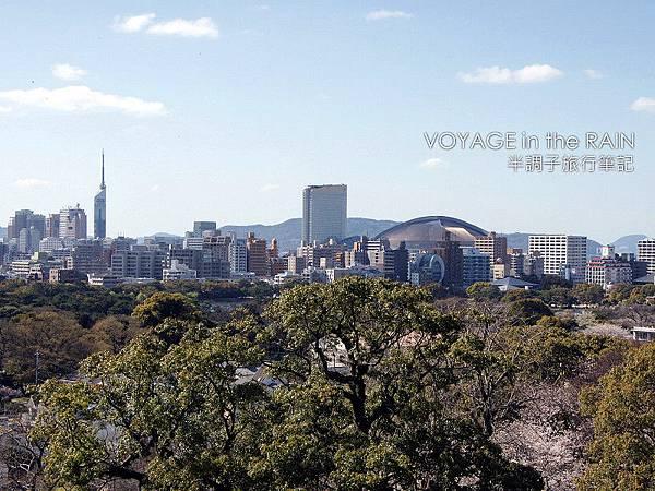 遠眺福岡城和福岡巨蛋