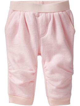 5粉紅縮口打折褲3-6m