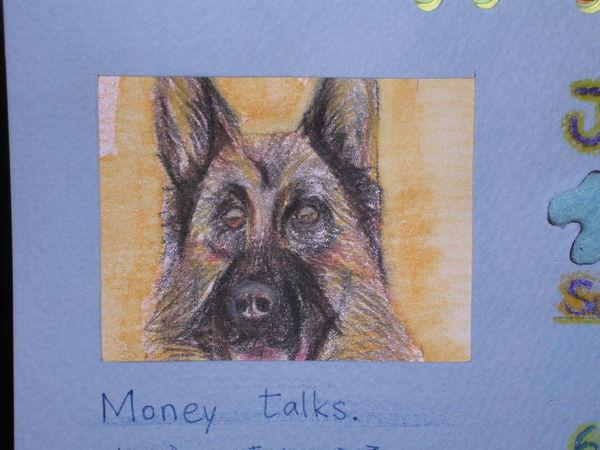 近看很虛的狼狗(水性色鉛筆繪)