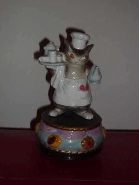 曰本Wachifield Dayan達洋貓罕有絕版可愛廚師立體陶瓷音樂座