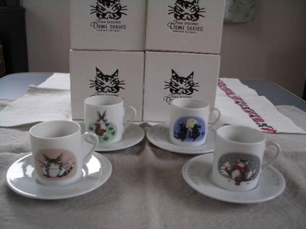 日本Wachifield Dayan達洋貓絕版2001年限定四季小杯一套