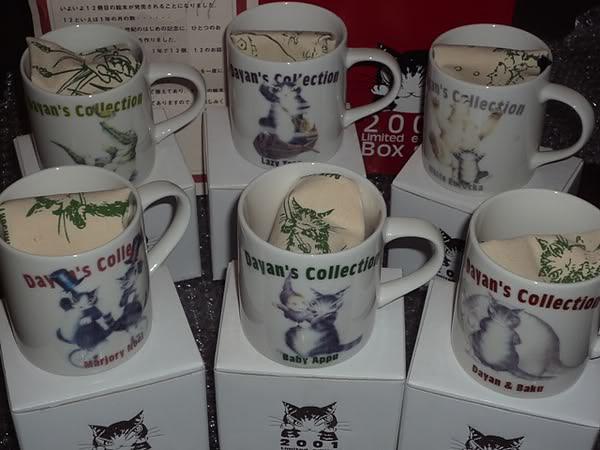 曰本Wachifield Dayan達洋貓 2001 年限量只出2001套可愛杯子一套12個(有證書 94/2001)每個杯子都有專屬的束口袋