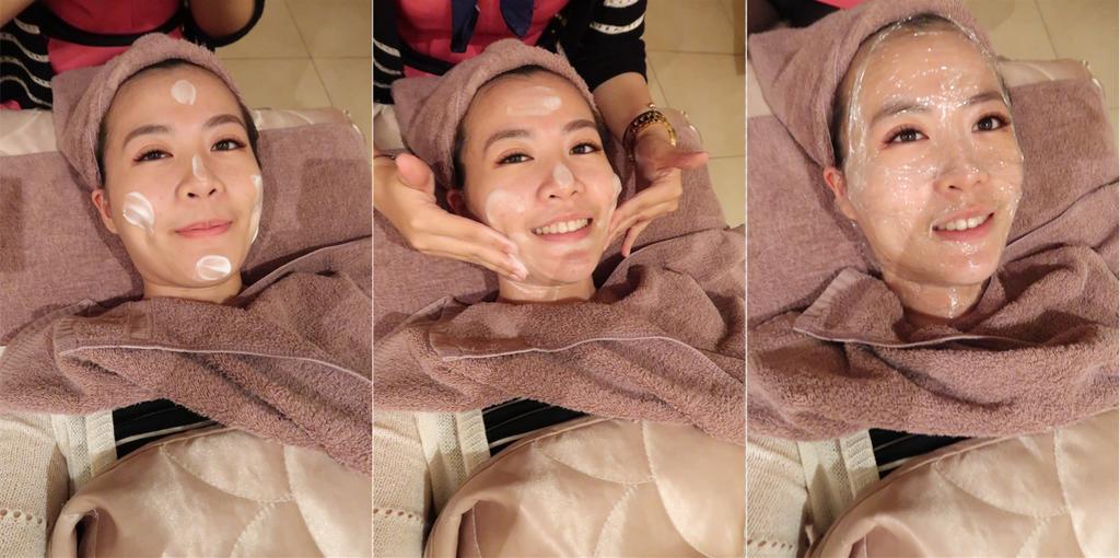 靚世紀美容師幫丫綾綾洗卸做臉部清潔