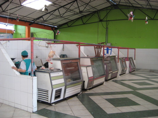快收攤的雞肉鋪(Central Market, Banos)