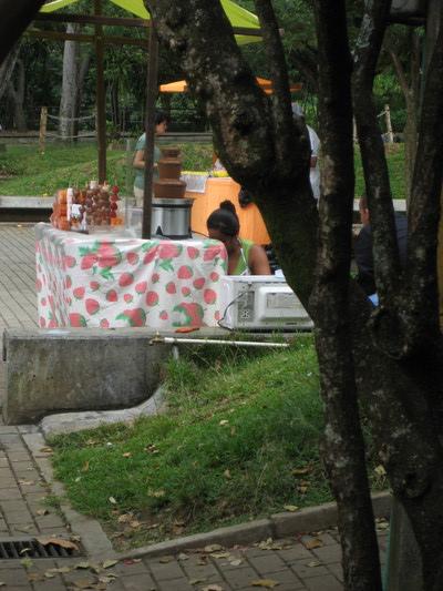 Medellin植物園裡賣巧克力噴泉的小販(偷照)