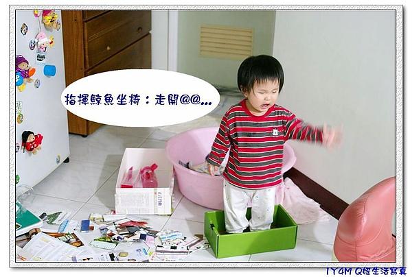 又把妞媽辛苦折的紙盒倒出來...站在盒子裡撒野.jpg