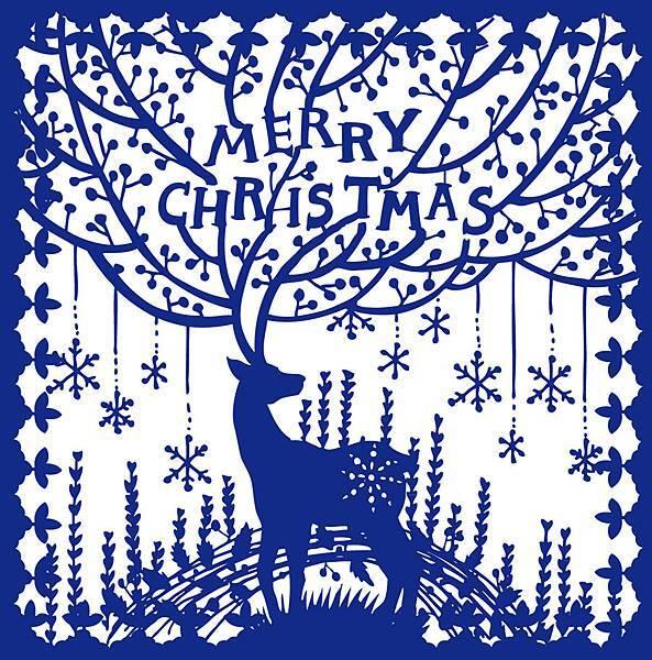 聖誕剪紙賀卡封面
