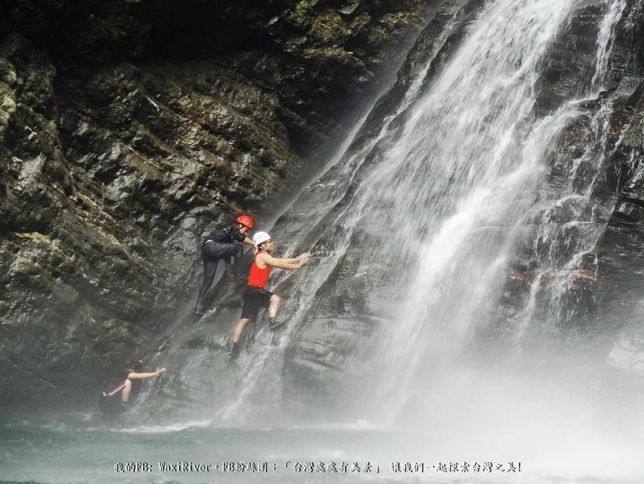 42 人物 澳花瀑布 跳水 大師兄 蜘蛛妹 我 開始爬上岩壁
