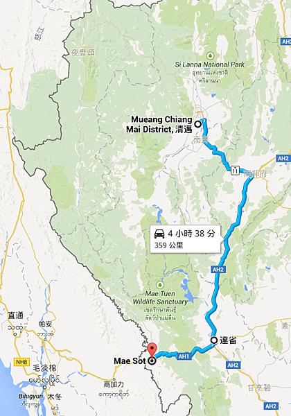 清邁府 Mueang Chiang Mai District, 清邁 至 Mae Sot Tak - Google 地圖.png