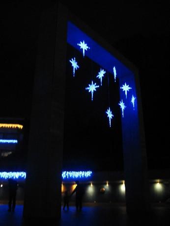 高山市飯店附近的文化中心,已經妝點聖誕