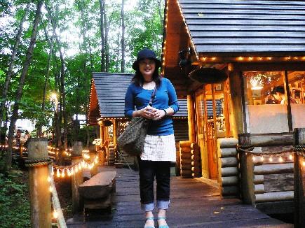 傍晚時到智者之森的森林木屋群