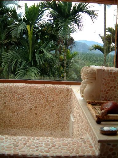 邊泡澡邊享受山中悠閒風景