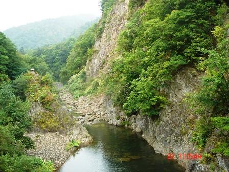 這裡有一條漂亮的豐平溪,是日本秋天有名的賞紅葉地點