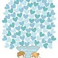 【創意簽名綢】[愛心花束] 藍