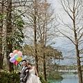 氣球婚紗照構圖