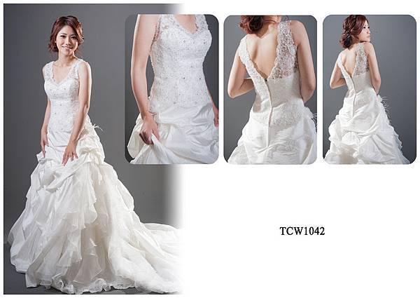手工婚紗出租-手工白紗TCW1042