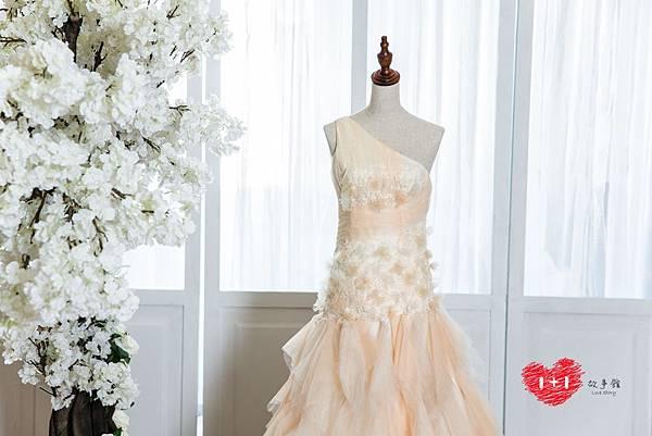 手工婚紗:粉戀玫瑰晚禮服