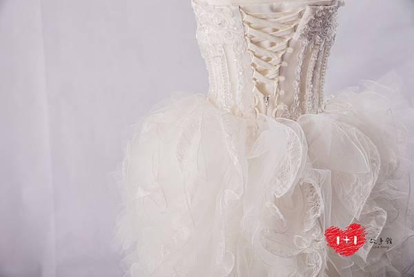 手工婚紗:時尚雙面珠簾白紗
