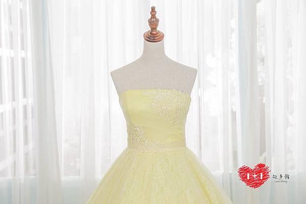 手工婚紗:香檳透膚晚禮服