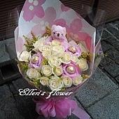 [AC019] 愛是鞦韆__20朵白玫瑰花束$1499.jpg