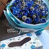 [AC025] 藍色愛情盒子_33朵藍玫瑰+手工繪製木盒$3499.jpg