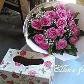 [AC026] 紫色愛情盒子_15朵紫玫瑰+手工繪製木盒$2499.jpg