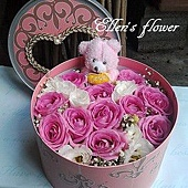 [AC030] 圓滿心意_11朵紫玫瑰花盒(加贈-愛你小熊1隻)$1450.jpg