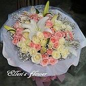 [AC057] 田園花語_50朵粉白玫瑰花束$2999.jpg