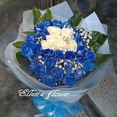 [AC058] 湛藍天空_33朵藍白玫瑰花束$2499.jpg