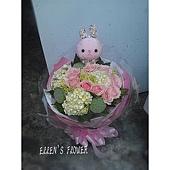 [AC072] 微笑小兔 __10朵粉玫瑰繡球花束$1599.jpg