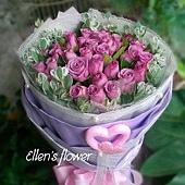 [AE001]水漾紫心__24朵紫玫瑰花束$1999.jpg