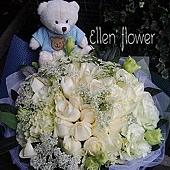 [AE030] 藍天寶貝 _30朵白玫瑰花束$2299.jpg