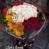 [AE041] 深深愛 _30朵紅白玫瑰花束$1999.jpg