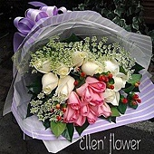 [AE043] 相信愛情 __20朵粉白玫瑰花束$1450.jpg