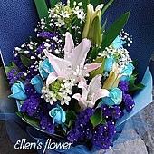 [AE047] 有你的天空 __11朵藍玫瑰花束$2499.jpg