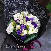[AE058] 黑白之間__11朵白玫瑰花束$1399.jpg