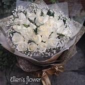 [AE060] 白雲朵朵__33朵白玫瑰花束$1999.jpg
