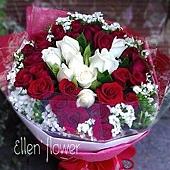 [AE066] 玫瑰情話 __33朵紅白玫瑰花束$1899.jpg