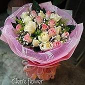 [AE068] 守護真心__20朵粉白玫瑰花束$1499.jpg