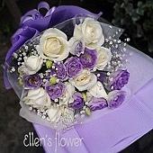 [AE078] 紫色旋律__11朵白玫瑰花束$1299.jpg