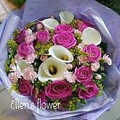 [AE082] 一生紫愛你__15朵紫玫瑰海芋花束$1799.jpg
